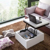 Nikka Black/White High-Gloss Lift-Top Coffee Table: Home & Kitchen