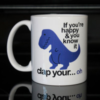 Coffee Mug - Blue T Rex Coffee Mug - Funny Custom Coffee Mug - Personalized Mug