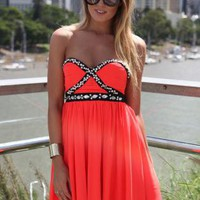 Coral Strapless Dress with Bead & Jewel Embellishment