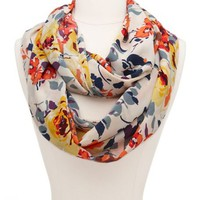 Silky Floral Infinity Scarf: Charlotte Russe
