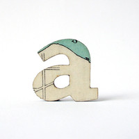 Vintage map paper letter brooch  a by houseofismay on Etsy