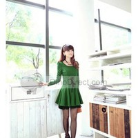 Zotina Stylish Thigh Length Cotton Blends Round Collar Puff Sleeve Pleated Women Dress      -  DinoDirect.com