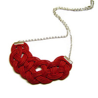 Red Knot Necklace, Red Cord necklace, Rope Necklace, Statement Necklace, Bib Necklace, Nautical, Celtic Knot, Sailor Knot, Love Knot, Chain