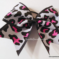 Pink Spotted Cheetah Mini Childrens Cheer Hair by SparkleBowsCheer
