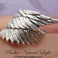 925 Archangel wing  solid Sterling silver ear cuff by RingRingRing
