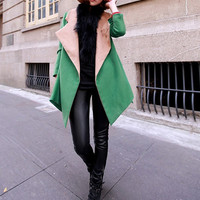 women's OL style suit wool Coat jacket Windbreaker green color   M-L