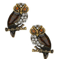 Sparkly Owl Studs - Topshop USA