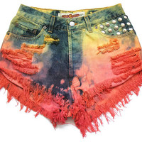 Ombre high waisted denim shorts M