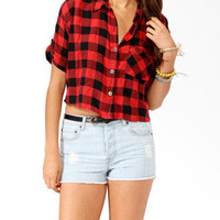 Cropped Buffalo Plaid Shirt | FOREVER 21 - 2017307629