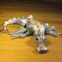 Polymer Clay Creeping Silvery Purple Dragon