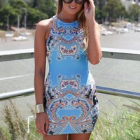 Blue Sleeveless Bodycon Mini Dress with Paisley Print Detail