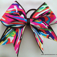 Multi Print Camo Large Cheer Hair Bow Cheerleading