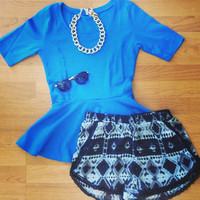 Blue Peplum Top - Furor Moda - Tops - Dresses - Jackets - Vintage
