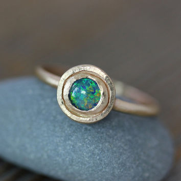 14k Gold and Blue Opal Triplet Halo Ring, Rustic, Hammered Gold Ring, Made To Order