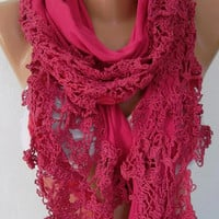 by womann Elegant and Gorgeous scarf -- Hot pink..scarf