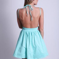 Mint Mini Dress with Open Tie Back and Frill Hem