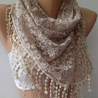 by womann Super elegant scarf Lace scarf.....iced coffee