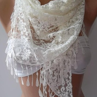 by womann Lace scarf... It made with good quality Lace ...Pearl color