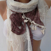 by womann Shabby Chic -  Elegant  Scarf  Romantic Scarf  Tulle and Cotton