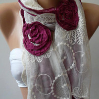by womann Shabby Chic - Georgeus  Scarf   Elegance  Scarf    Feminine  Scarf....Cotton and Tulle fabric...