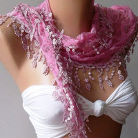 by womann  Lace scarf - Perfect Accesory - Like a jewelry - pink