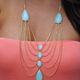 Chandelier Necklace: Mint/Gold | Hope's
