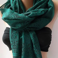 by womann Lace scarf - Elegant scarf - Classy scarf - green