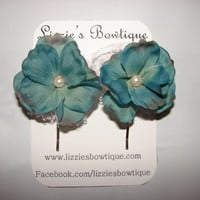 Set of two beautiful blue flower and lace by LizziesBowtique1