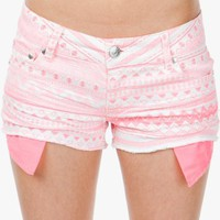 A&#x27;GACI Neon Pink Aztec Cut Off - BOTTOMS