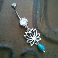 Lotus Belly Button Ring Jewelry Turquoise Flower Rose Navel Piercing Bar Barbell