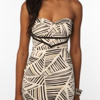 UrbanOutfitters.com > Reverse Triangle Stripe Printed Bustier Knit Dress