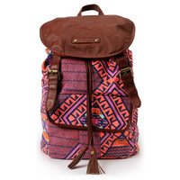 Hurley Girls One And Only Orange Tribal Print Backpack