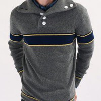 Band of Outsiders Split Collar Sweater Dk Grey w/ Navy Gold - CONTEXT CLOTHING - Free Shipping!