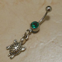Belly button ring - Body Jewelry - Silver turtle Belly ring
