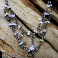 Ethiopian Welo Opal Bib Necklace, Oregon Sunstone, Oxidized Sterling