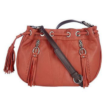 B.Makowsky Glove Leather Rounded Crossbody Bag w/ZipperAccents - QVC.com