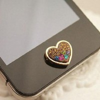 Brilliant Valentine Hearts Crystal Iphone Home Return Keys Buttons Sticker For iPhone 4S iPhone 5 iPod Touch iPad Repair Fix Replace Replacement: Cell Phones &amp; Accessories