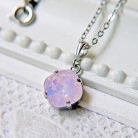 Swarovski Crystal Rose Water Opal Pendant Necklace. Silver. Romantic. Feminine