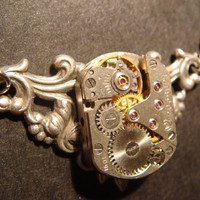 Steampunk Vintage Watch Movement Necklace on by CreepyCreationz