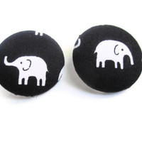Elephant Earrings, Fabric Button Earrings Set On Silver Post