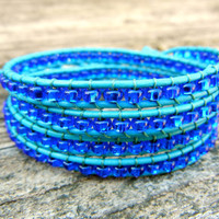 Spring Beaded Leather 4 Wrap Bracelet with Blue by BraceletsByBetz