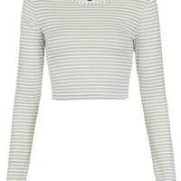 Mesh Stripe Long Sleeve Crop