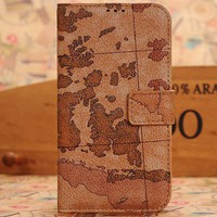 World Map Leather Wallet Flip Cover Case for Galaxy S4 i9500 - Lineglory.com