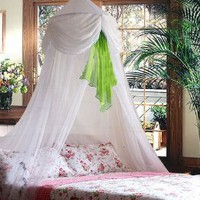 White & Green Chiffon Furbelow Princess Bed Canopy By SID