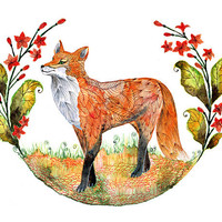 Foxy Garden (fox and flowers) - animal art print, size 8x10 (No. 23 )
