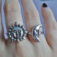 Sun or Moon silver adjustable ring
