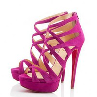 Christian Louboutin Balota 150mm Suede Sandals Framboise