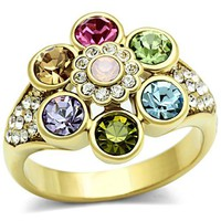 Ion Gold Plated Crystal Ring - 06588