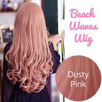 Dusty Pink Beach Waves Long Full Wig Japanese Korean Ulzzang | EyeCandy's