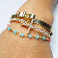 Simple dainty coral braided friendship bracelets - gold plated wire wrapped light aqua faceted crystal matte heart free people inspired